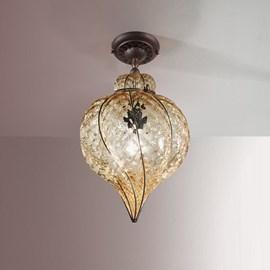 Venetian Extended Ceiling Lamp Torsi Amber