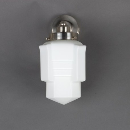 Wall lamp with matted nickel finish and opal white glass shade