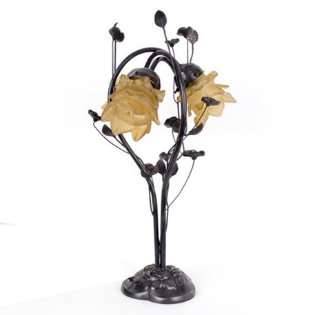 Tablelamp Flower with light brown glass shades and dark bronze finish