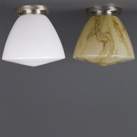 Ceiling Lamp School in Opal White, Light Yellow and Marbled Glass
