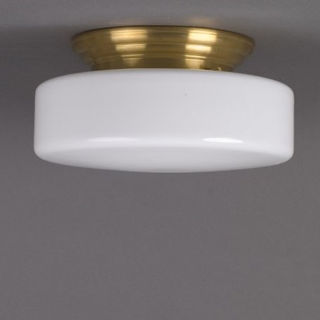 Ceilinglamp Peppermin in opal white glass with rounded brass fixture