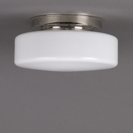 Ceilinglamp Peppermint in opal white glass with layered nickel fixture