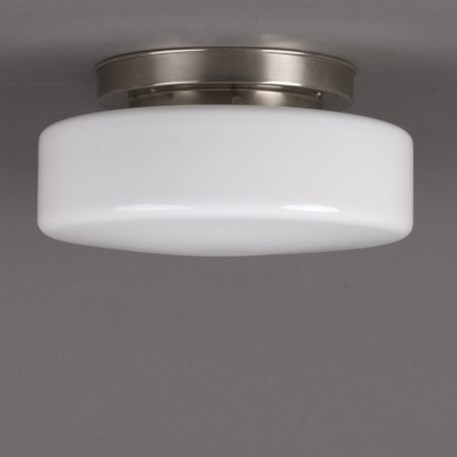 Ceilinglamp Peppermint in opal white glass with layered mattnickel fixture