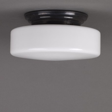 Ceilinglamp Peppermint in opal white glass with rounded bronzed fixture