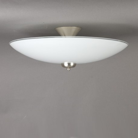 Ceilinglamp glass scale 50cm opal white with mattnickel fixture