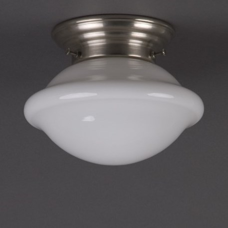 Ceilinglamp Button in opal white glass with rounded matt nickel fixture