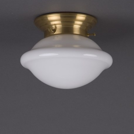 Ceilinglamp Button in opal white glass with rounded matt brass fixture
