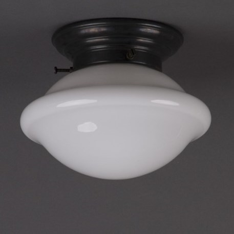 Ceilinglamp Button in opal white glass with rounded bronzed fixture