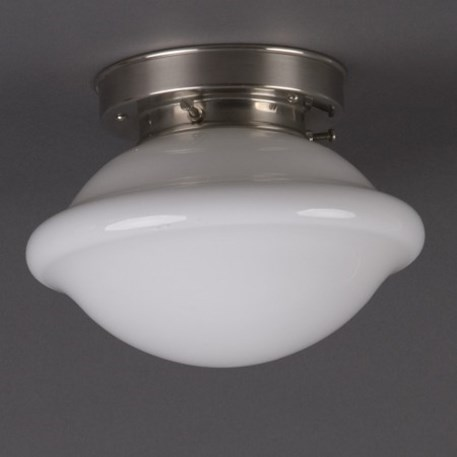 Ceilinglamp Button in opal white glass with layered matt nickel fixture