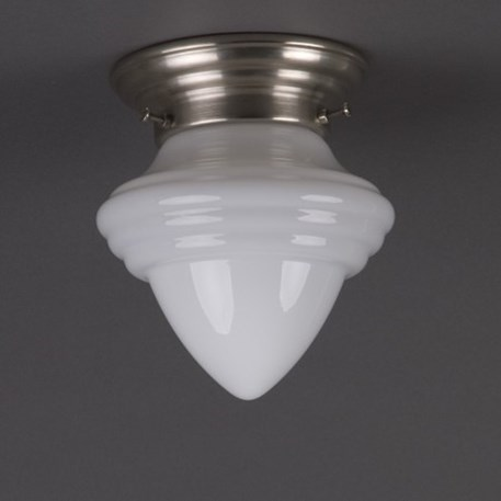 Ceililinglamp acorn small in opal white glass with rounded mattnickel fixture