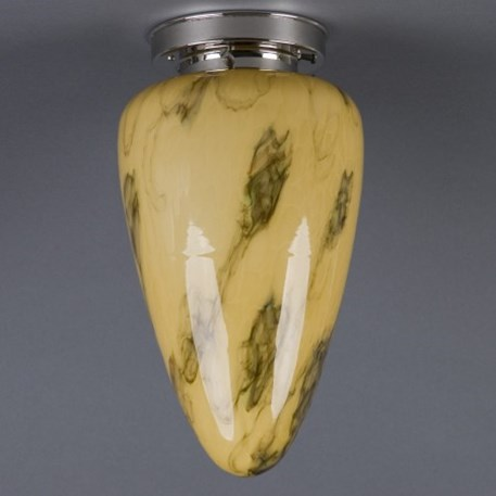 Ceilinglamp Menhir medium in marbled glass with layered mattnickel fixture