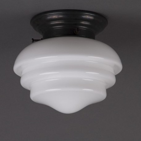 Ceilinglamp Mushroom in opal white with rounded bronzed fixture