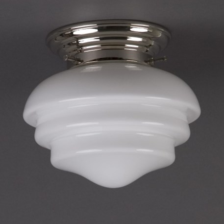 Ceilinglamp Mushroom in opal white glass with rounded nickel fixture