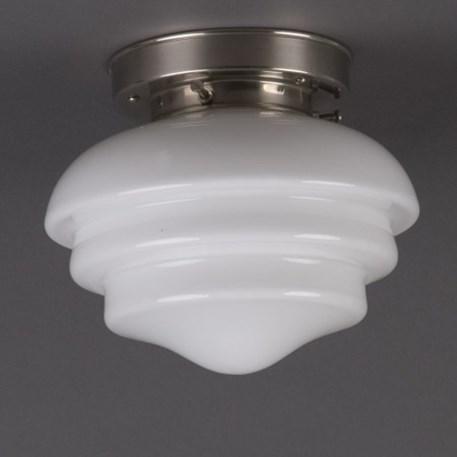 Ceilinglamp Mushroom in opal white glass with layered matt nickel fixture
