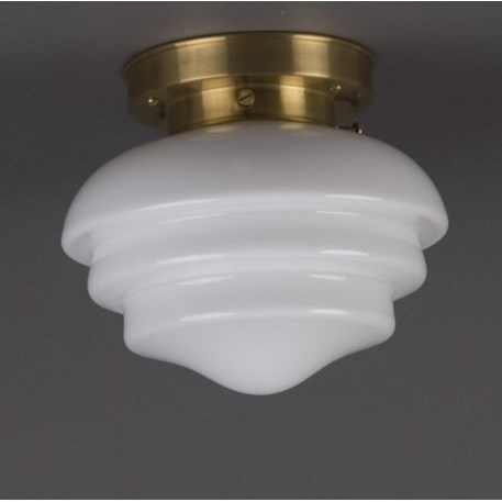 Ceilinglamp Mushroom in opal white glass with layered matt brass fixture