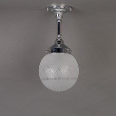 Bathroom Ceiling/Hanging Lamp Etched Globe