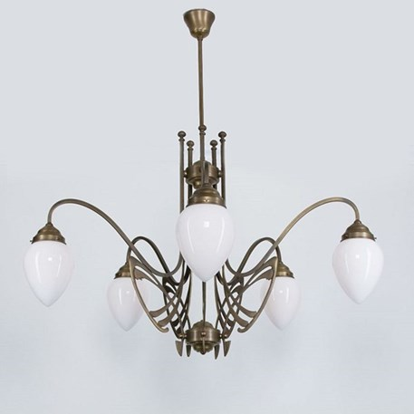 Victor Horta Chandelier Elegance with opal white glass lampshades
