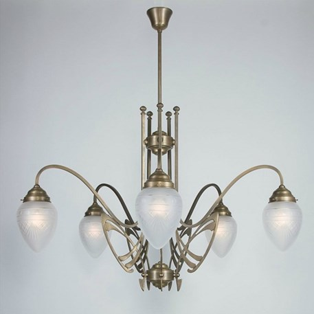 Victor Horta Chandelier Elegance with etched glass lampshades