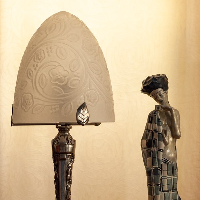 French Art Deco Table Lamp Dome Fleurs