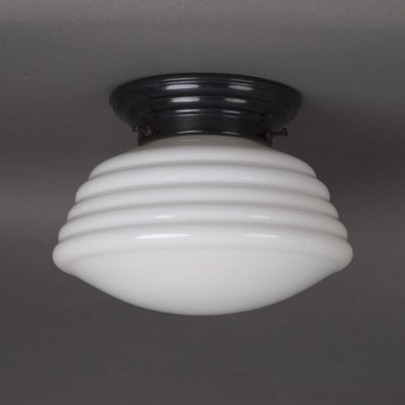 Ceilinglamp wave in white glass with rounded bronzed fixture