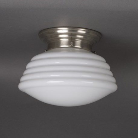 Ceilinglamp wave in opal white glass wit rounded matt nickel fixture