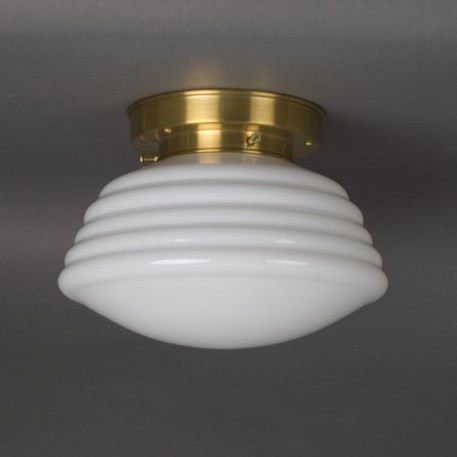 Ceilinglamp Wave in opal white glass with layered brass fixture