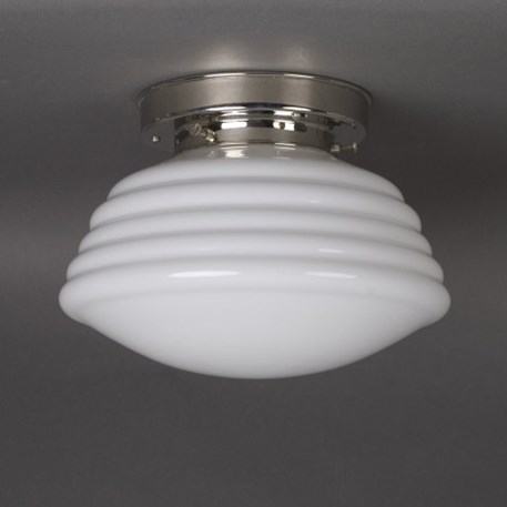Ceilinglamp Ridges in opal white glass with layered nickel fixture