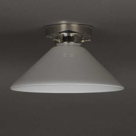 Ceilinglamp Cono in opal white glass with layered nickel fixture
