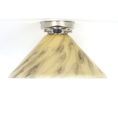 Ceilinglamp Cono in marbled glass with layered nickel fixture
