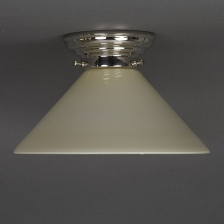 Ceilinglamp Cono with light yellow/ cebe / ivory glass with rounded nickel fixture