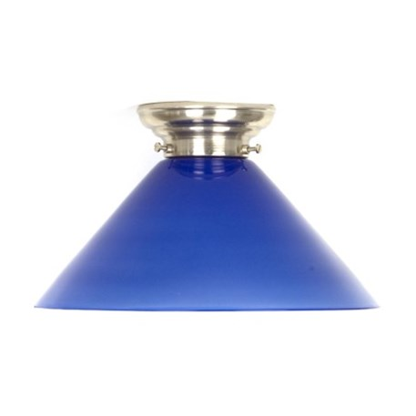 Ceilinglamp Cono in blue glass with rounded mattnickel fixture