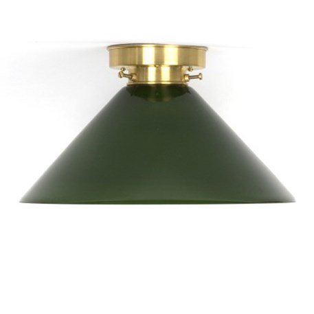 Ceilinglamp Cono in green with layered brass fixture