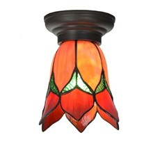 Little Tiffany Ceiling Lamp Lovely Flower Red